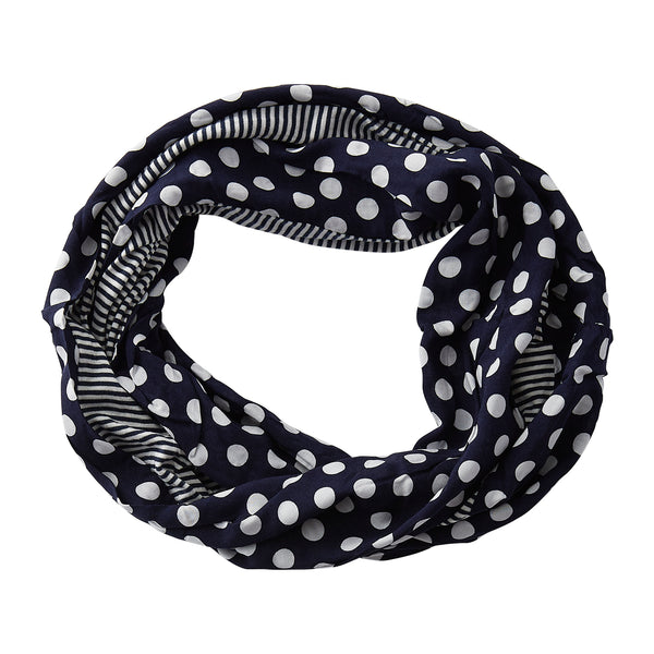 Wholesale Boutique Gifts - Dots & Stripes Infinity - Navy Blue - Tickled Pink