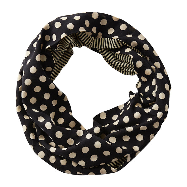 Wholesale Boutique Gifts - Dots & Stripes Infinity - Black/Old Gold - Tickled Pink