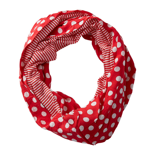 Dots & Stripes Infinity - Red - Tickled Pink Wholesale