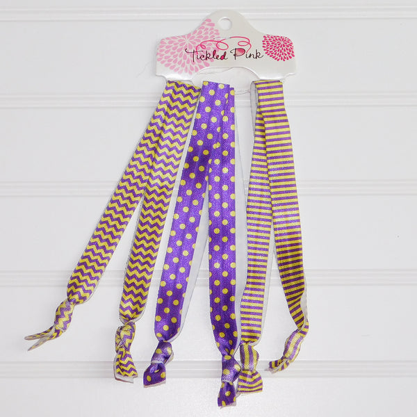Wholesale Scarves - Gameday Headband Set - Purple - Gold - Tickled Pink