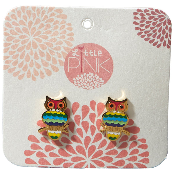 Wholesale Boutique Gifts - Little Pink Earrings - Owl - Tickled Pink