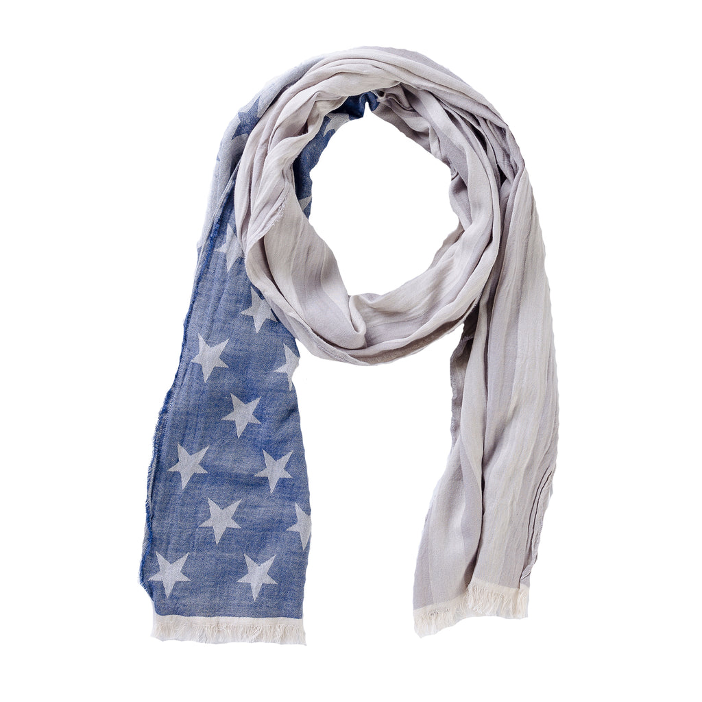 American Flag Scarf - Blue & Gray - Tickled Pink Wholesale