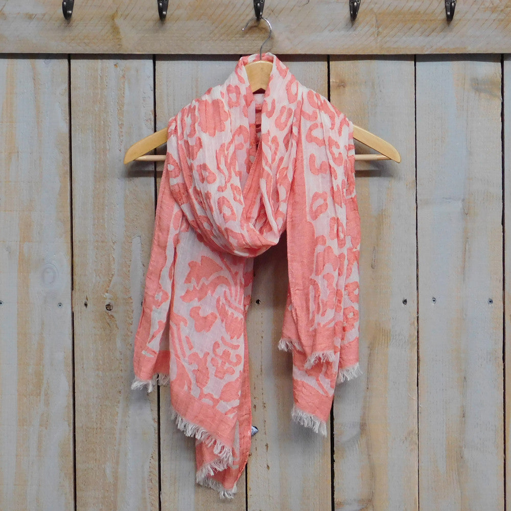Vintage Floral Tapestry Scarf - Orange - Tickled Pink Wholesale