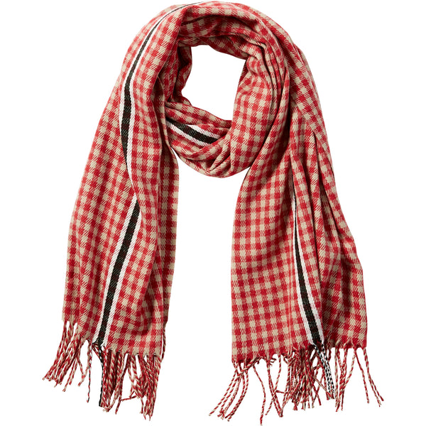 Red Petite Check Fringe Scarf - Tickled Pink Wholesale