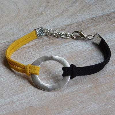 Wholesale Scarves - Gameday Faux Leather Bracelet - Black Gold - Set of 12 - Tickled Pink