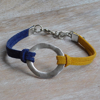 Gameday Faux Leather Bracelet - Navy Gold - Set of 12 - Tickled Pink Wholesale
