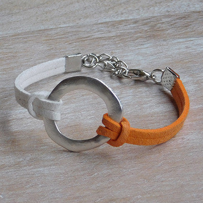 Gameday Faux Leather Bracelet - Orange White - Set of 12 - Tickled Pink Wholesale