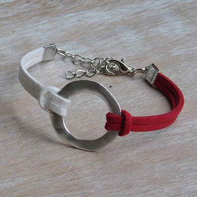 Gameday Faux Leather Bracelet - Red White - Set of 12 - Tickled Pink Wholesale
