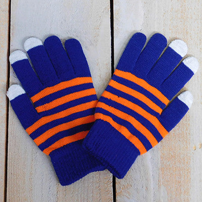 Wholesale Scarves - Gameday Texting Gloves, One Dozen - Blue/Orange - Tickled Pink