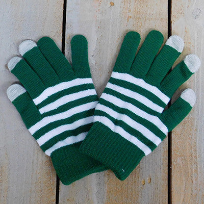Wholesale Scarves - Gameday Texting Gloves, One Dozen - Green/White - Tickled Pink