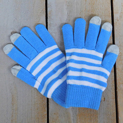 Wholesale Scarves - Gameday Texting Gloves, One Dozen - Light Blue/White - Tickled Pink