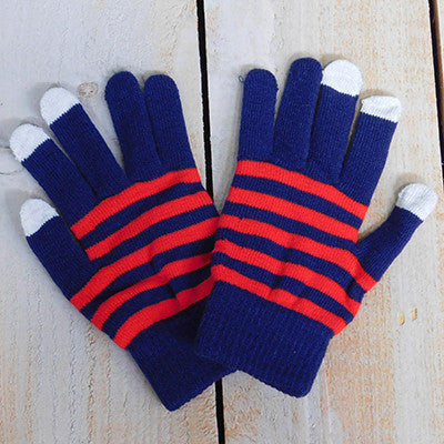 Gameday Texting Gloves, One Dozen - Navy/Red - Tickled Pink Wholesale
