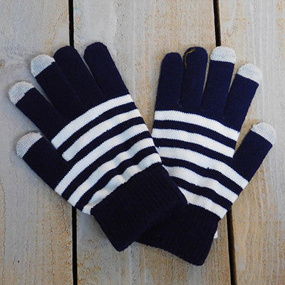 Gameday Texting Gloves, One Dozen - Navy/White - Tickled Pink Wholesale