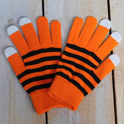 Wholesale Scarves - Gameday Texting Gloves, One Dozen - Orange/Black - Tickled Pink