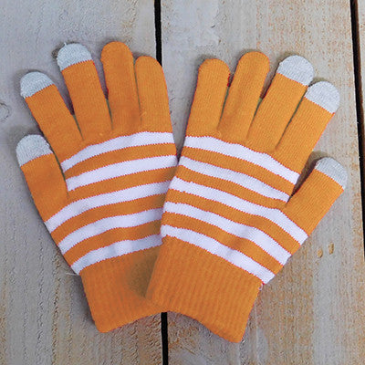 Wholesale Scarves - Gameday Texting Gloves, One Dozen - Orange/White - Tickled Pink