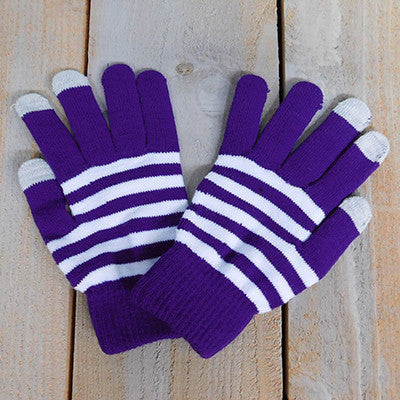 Wholesale Scarves - Gameday Texting Gloves, One Dozen - Purple/White - Tickled Pink