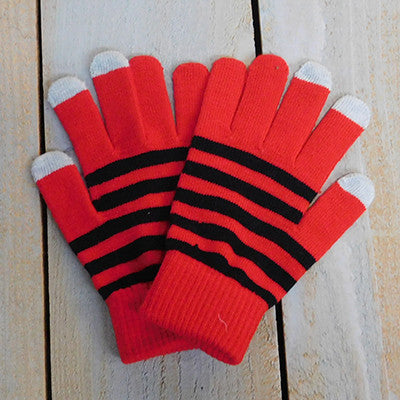 Gameday Texting Gloves, One Dozen - Red/Black - Tickled Pink Wholesale
