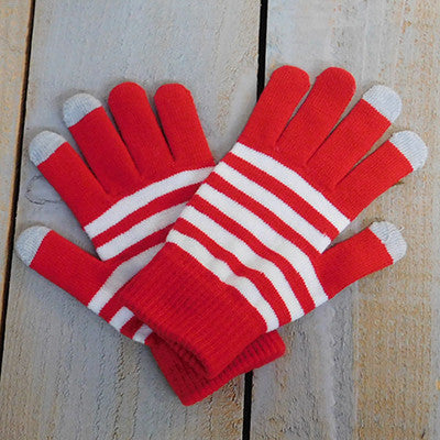 Wholesale Scarves - Gameday Texting Gloves, One Dozen - Red/White - Tickled Pink