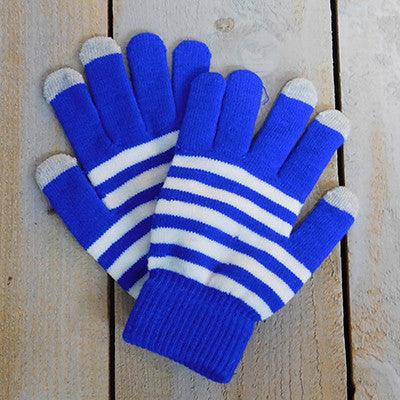 Wholesale Scarves - Gameday Texting Gloves, One Dozen - Royal/White - Tickled Pink