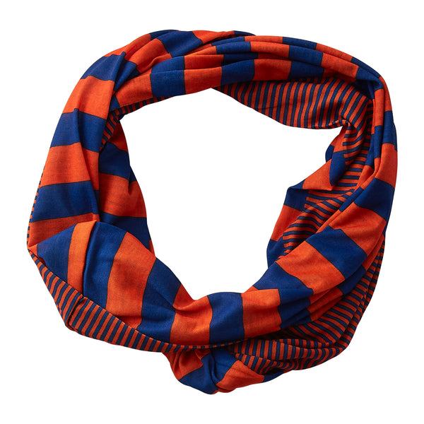 Wholesale Boutique Gifts - Gameday Stripes Infinity - Blue/Orange - Tickled Pink