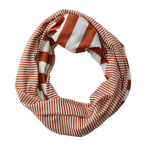 Wholesale Boutique Gifts - Gameday Stripes Infinity - Burnt Orange/White - Tickled Pink