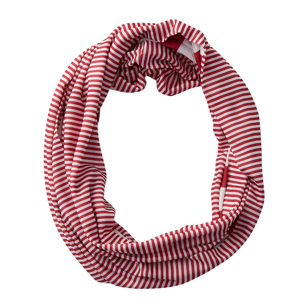 Wholesale Boutique Gifts - Gameday Stripes Infinity - Crimson/White - Tickled Pink