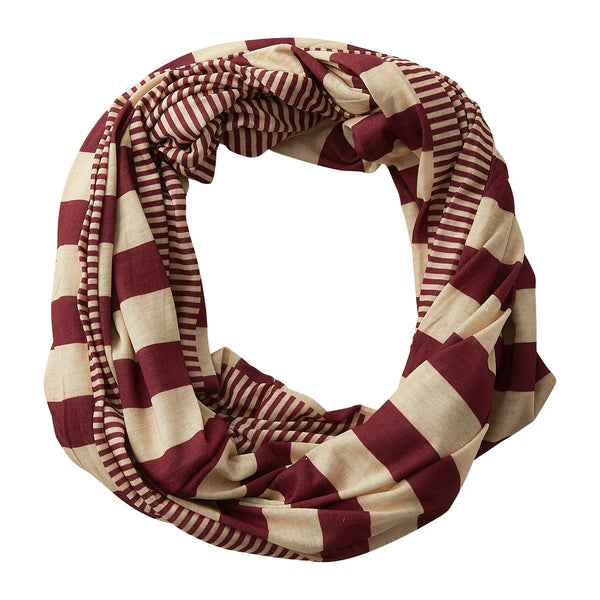 Wholesale Boutique Gifts - Gameday Stripes Infinity - Garnet/Old Gold - Tickled Pink