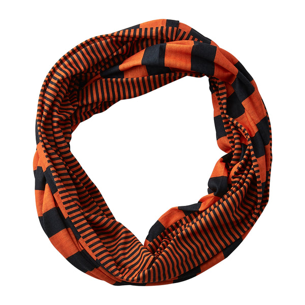 Wholesale Boutique Gifts - Gameday Stripes Infinity - Orange/Black - Tickled Pink