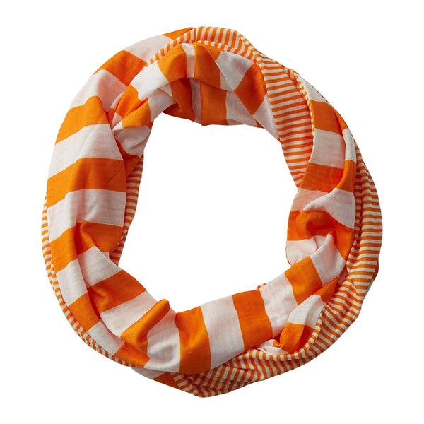 Wholesale Boutique Gifts - Gameday Stripes Infinity - Orange/White - Tickled Pink