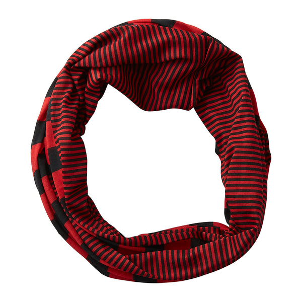 Wholesale Boutique Gifts - Gameday Stripes Infinity - Red/Black - Tickled Pink