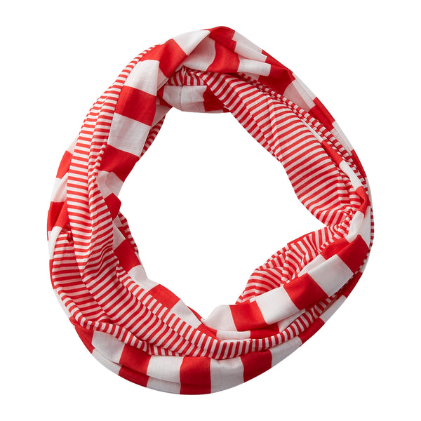 Wholesale Boutique Gifts - Gameday Stripes Infinity - Red/White - Tickled Pink