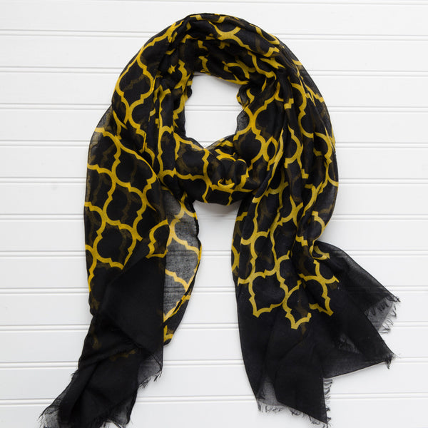 Wholesale Scarves - Vibrant Royal Scarf - Black Athletic Gold - Tickled Pink