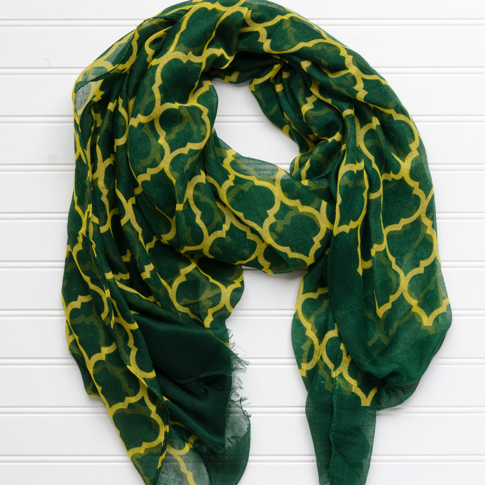 Vibrant Royal Scarf - Green Gold - Tickled Pink Wholesale