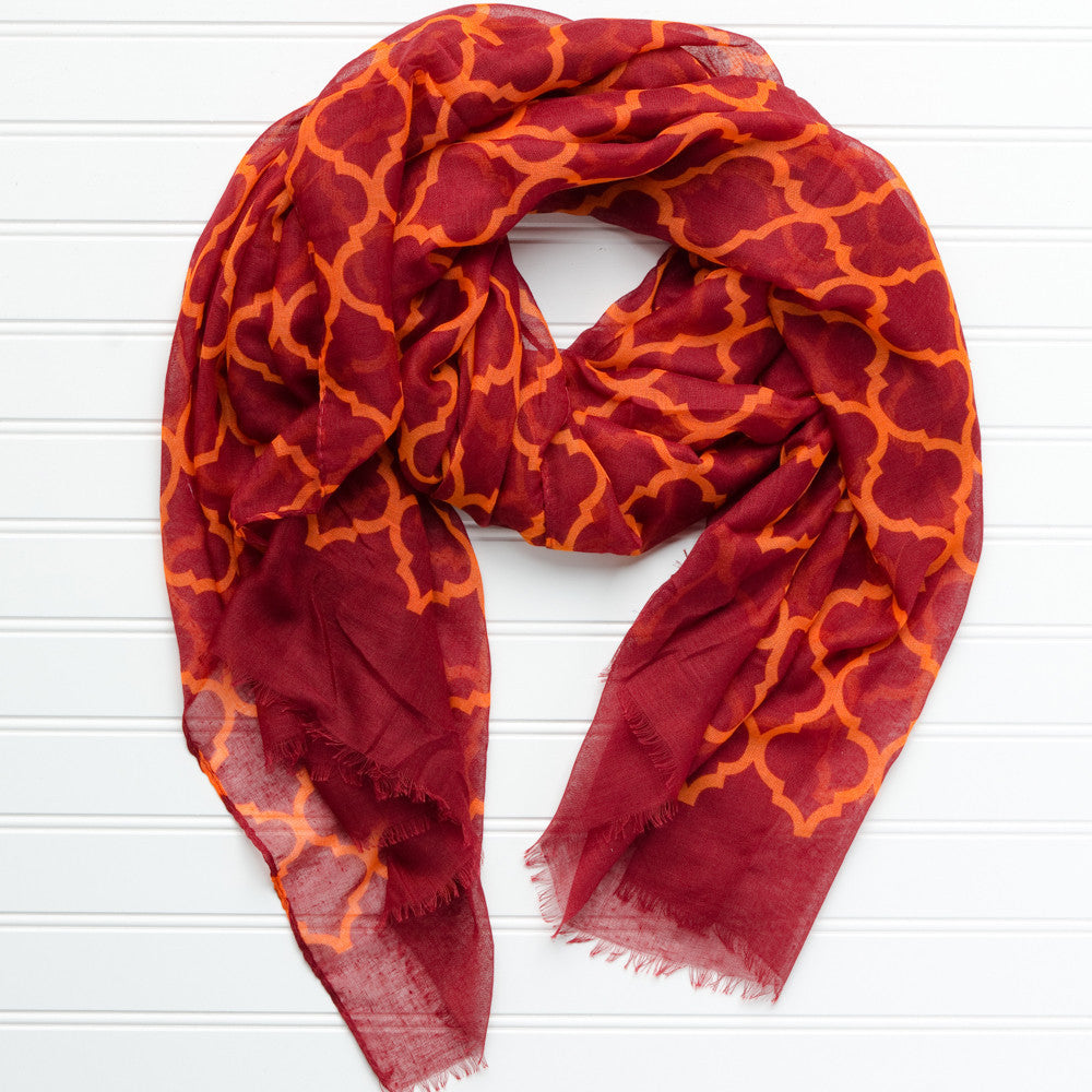 Vibrant Royal Scarf - Maroon Orange - Tickled Pink Wholesale
