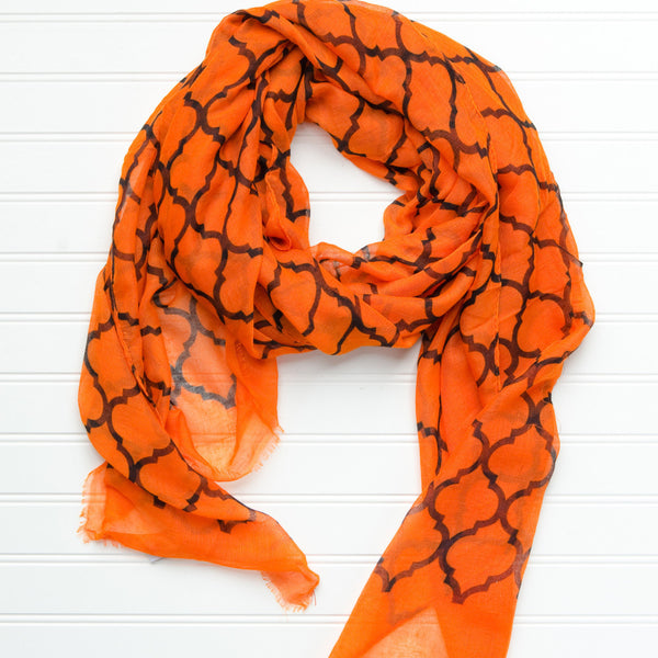 Wholesale Scarves - Vibrant Royal Scarf - Orange Black - Tickled Pink