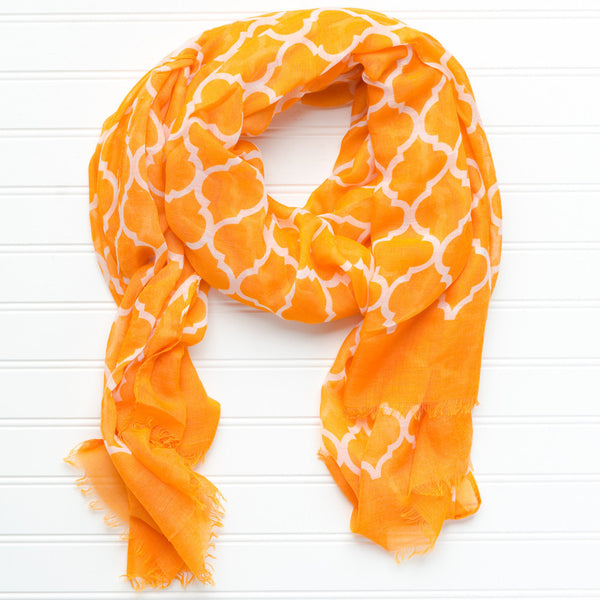 Wholesale Scarves - Vibrant Royal Scarf - Orange - Tickled Pink
