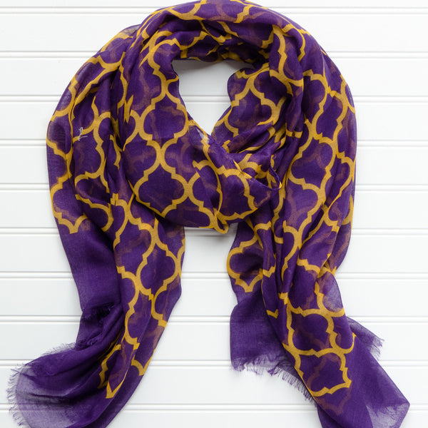 Wholesale Scarves - Vibrant Royal Scarf - Purple Gold - Tickled Pink