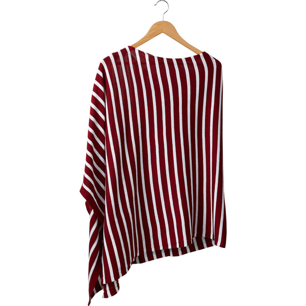 Wholesale Boutique Gifts - Game Day Narrow Stripe Cotton Poncho - Crimson White - Tickled Pink