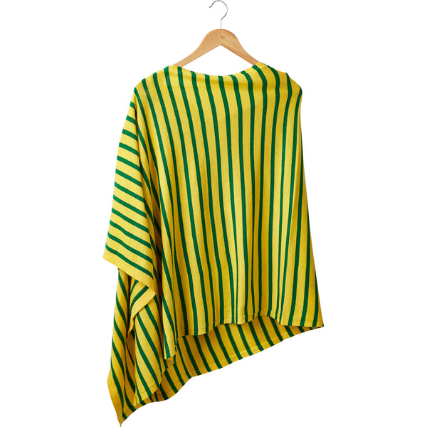 Wholesale Boutique Gifts - Game Day Narrow Stripe Cotton Poncho - Green Gold - Tickled Pink