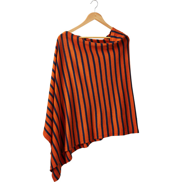 Wholesale Boutique Gifts - Game Day Narrow Stripe Cotton Poncho - Navy Orange - Tickled Pink