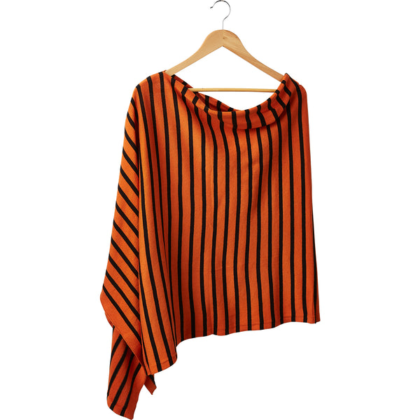 Wholesale Boutique Gifts - Game Day Narrow Stripe Cotton Poncho - Orange Black - Tickled Pink