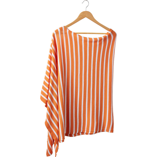 Wholesale Boutique Gifts - Game Day Narrow Stripe Cotton Poncho - Orange White - Tickled Pink