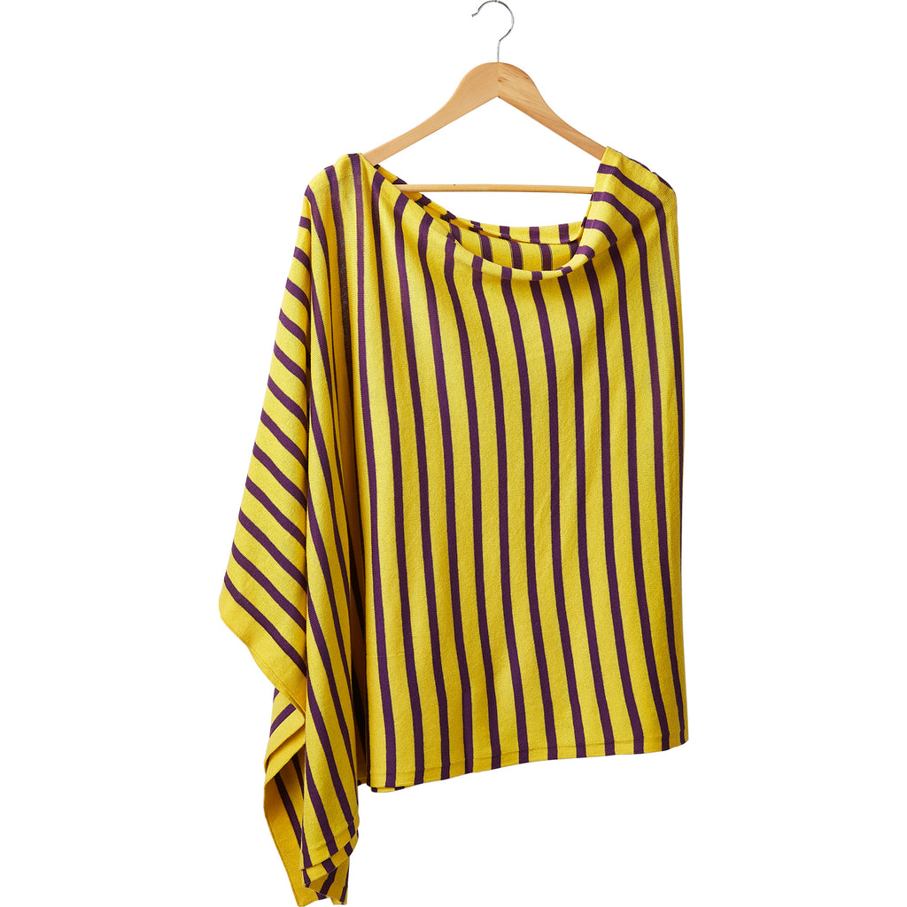Game Day Narrow Stripe Cotton Poncho - Purple Gold - Tickled Pink Wholesale