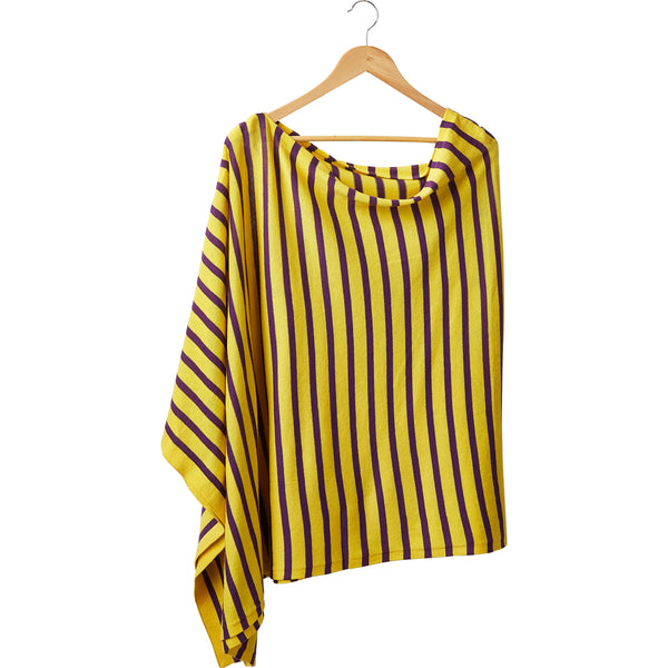Wholesale Boutique Gifts - Game Day Narrow Stripe Cotton Poncho - Purple Gold - Tickled Pink
