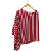 Wholesale Boutique Gifts - Game Day Narrow Stripe Cotton Poncho - Red White - Tickled Pink