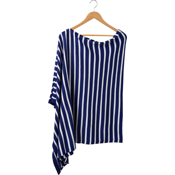Wholesale Boutique Gifts - Game Day Narrow Stripe Cotton Poncho - Royal White - Tickled Pink