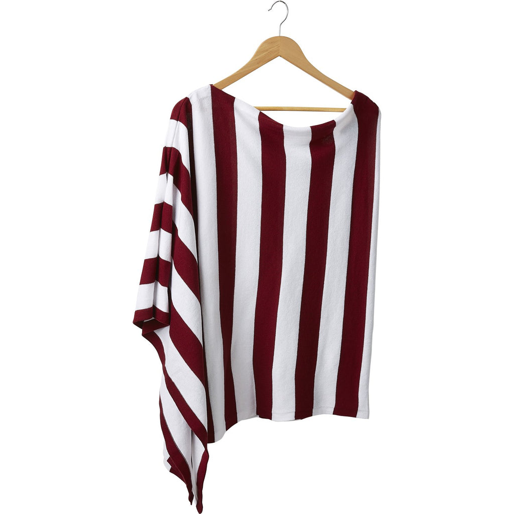 Game Day Wide Stripe Cotton Poncho - Crimson White - Tickled Pink Wholesale