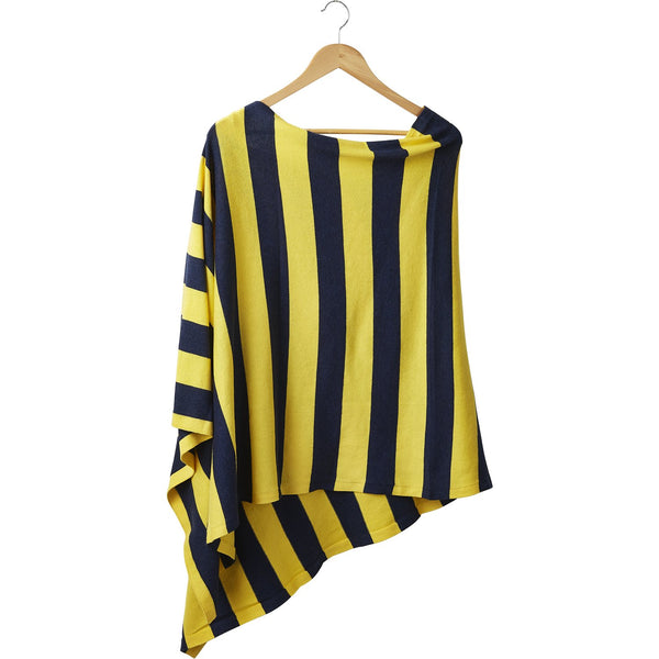 Game Day Wide Stripe Cotton Poncho - Navy Gold