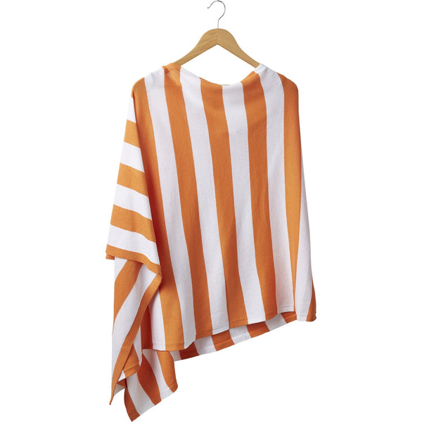 Game Day Wide Stripe Cotton Poncho - Orange White