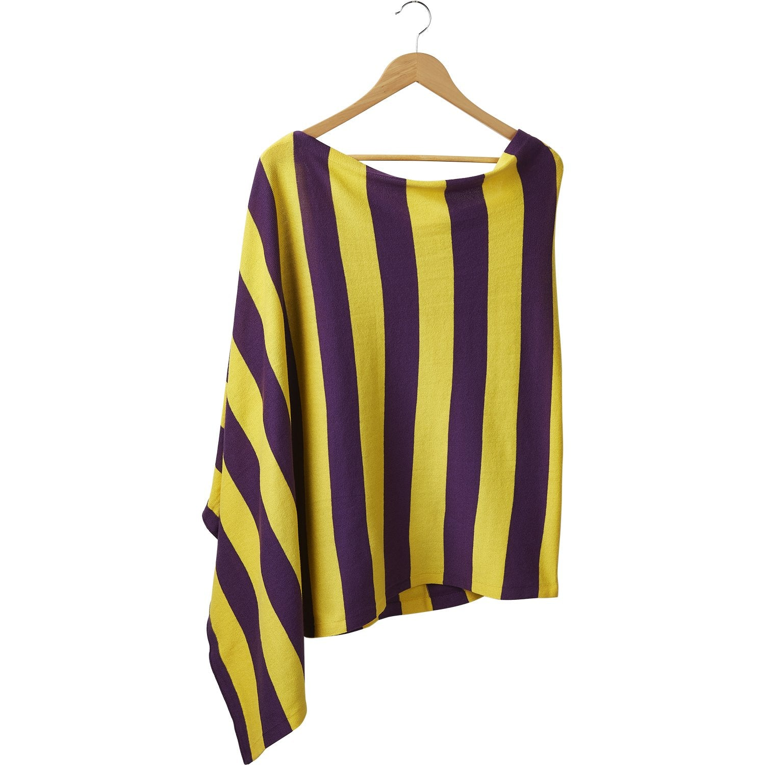 Game Day Wide Stripe Cotton Poncho - Purple Gold